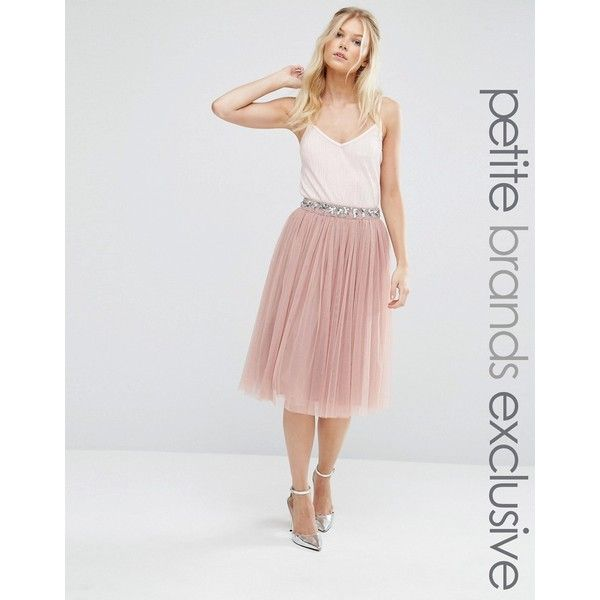 Maya Petite Sequin Tulle Midi Skirt With Embellished Waist ($73 ...