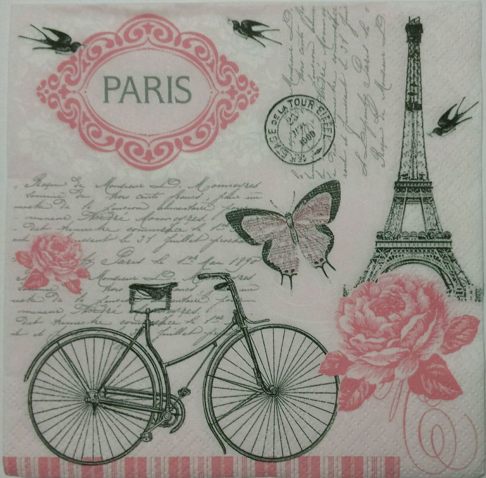 4x Paper Napkins for Decoupage Decopatch Vintage Bike
