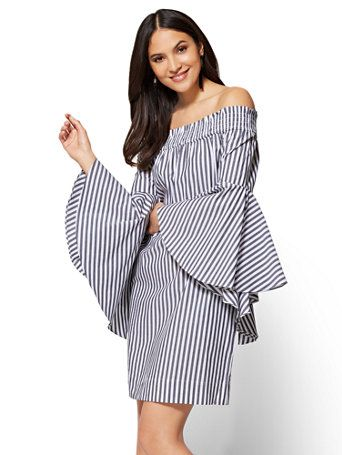 4deacff9a528 Shop Off-The-Shoulder Smocked Poplin Dress. Find your perfect size online  at the best price at New York & Company.