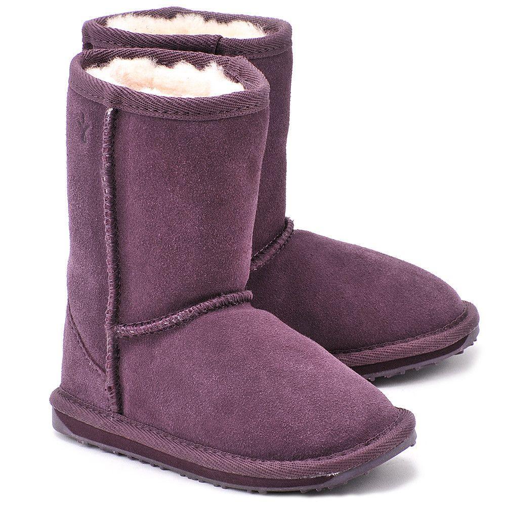 Emu Wallaby Lo Purple Fioletowe Zamszowe Kozaki Dzieciece Buty Dzieci Kozaki Mivo Boots Uggs Ugg Boots