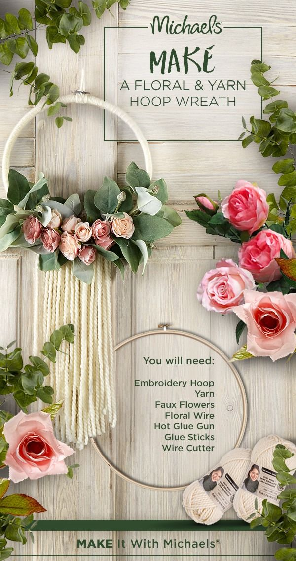MAKE your next project bloom with a floral and yarn hoop wreath ...