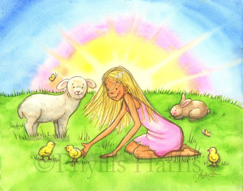 Spring chicks, bunny and lamb wall art - children\'s room decor ...