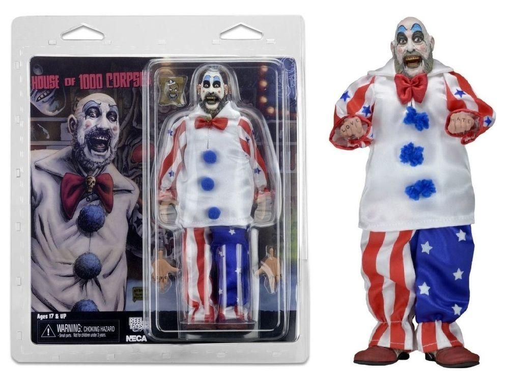 """Captain Spaulding NECA 8/"""" Retro Style Clothed Figure House of 1000 Corpses"""