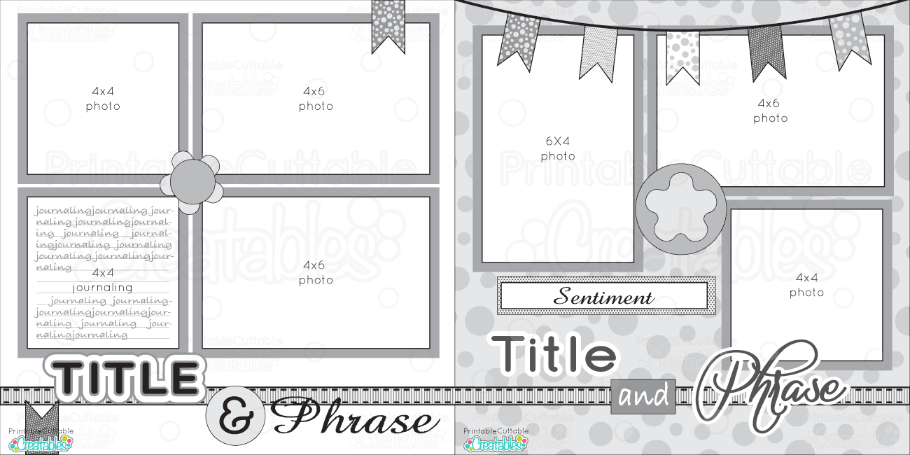 12x12 Two Page Free Printable Scrapbook Layout Scrapbook Sketches