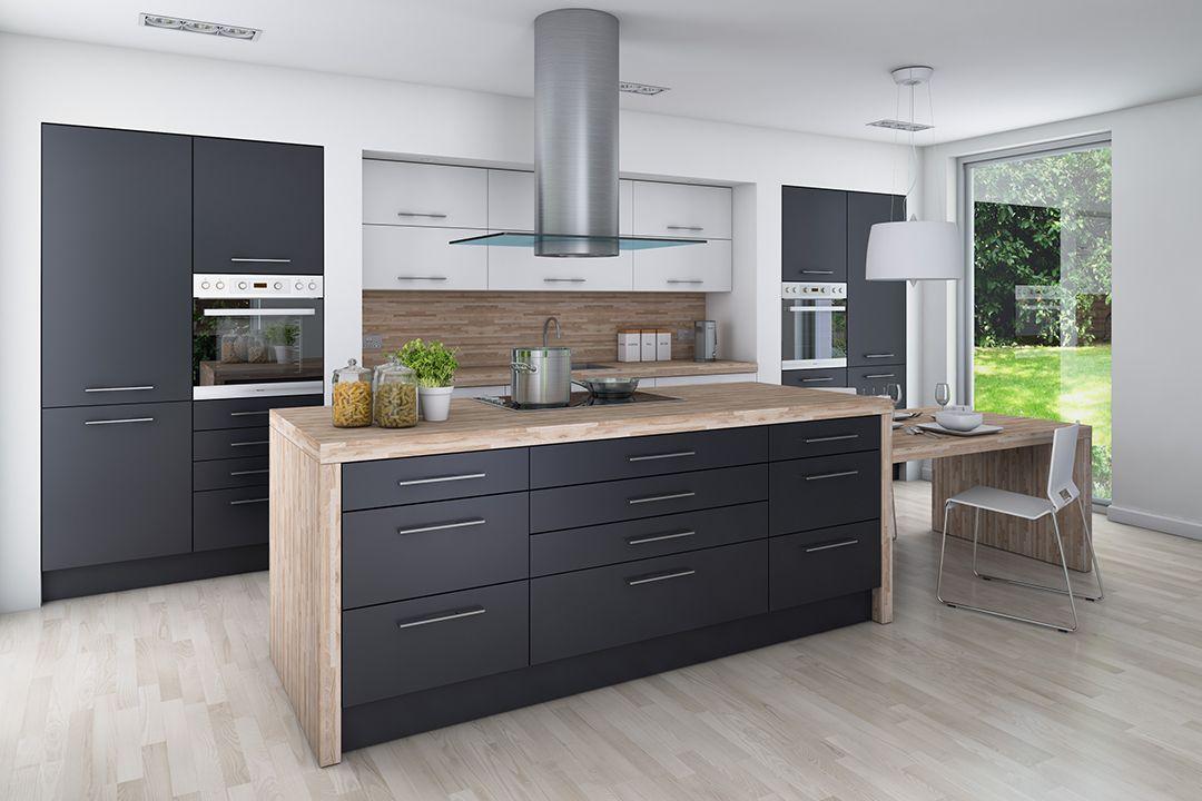Wko Nuova Graphite Dark Grey Fitted Kitchen B Kitchen Pantry
