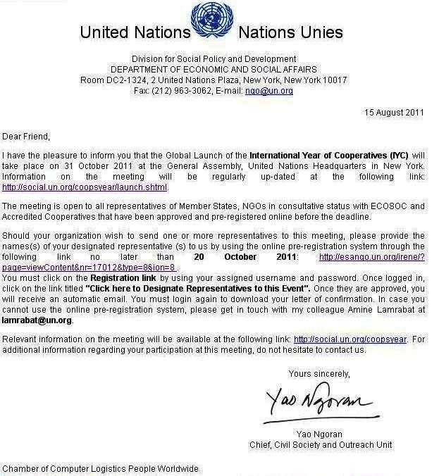 Cover Letter United Nations