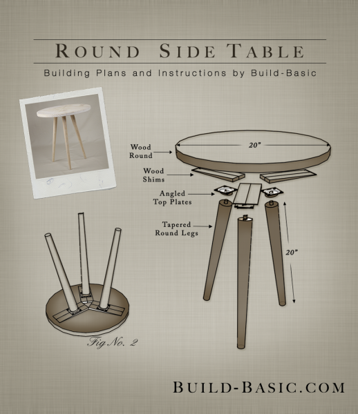 Build A Round Side Table Building Plans By Buildbasic Www Build Basic Com Round Side Table Diy Round Side Table Diy Side Table