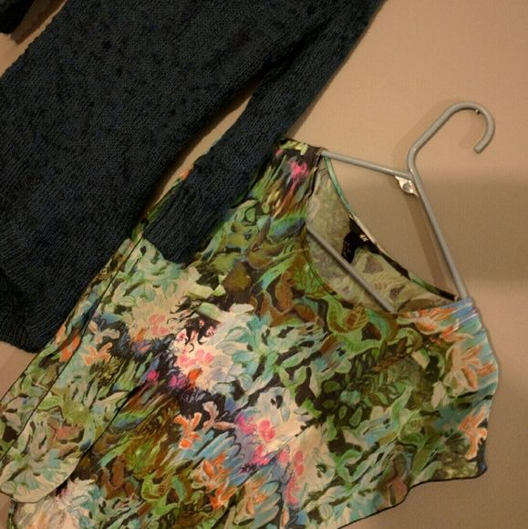 2 tops Dark blue long quarter sleeve size medium great with leggings and a butterfly like shirt, like a tank to with wavy sleeves very cute size xs Tops
