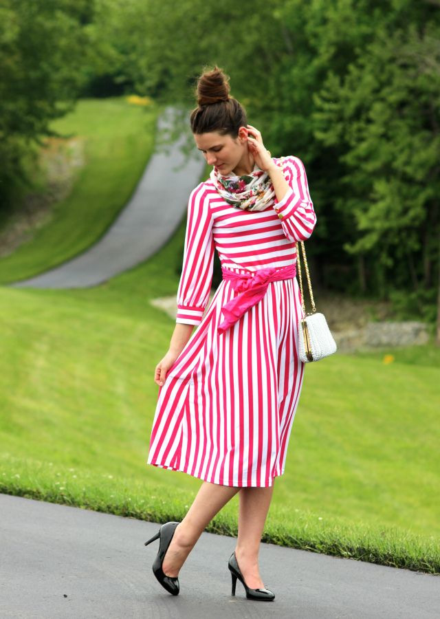Dainty Jewell\'s Stripe Maxi Dress in Hot Pink | Lovely modest ...