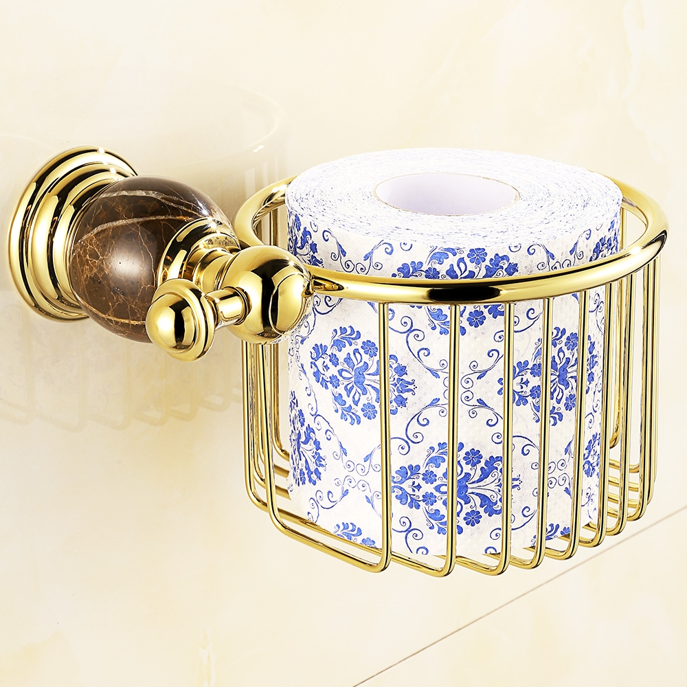 (32.30$)  Buy here  - European Gold Marble Paper Basket Vintage Polished Chrome Solid Brass Paper Box Paper Holder Wall Mount Bathroom Accessories L10