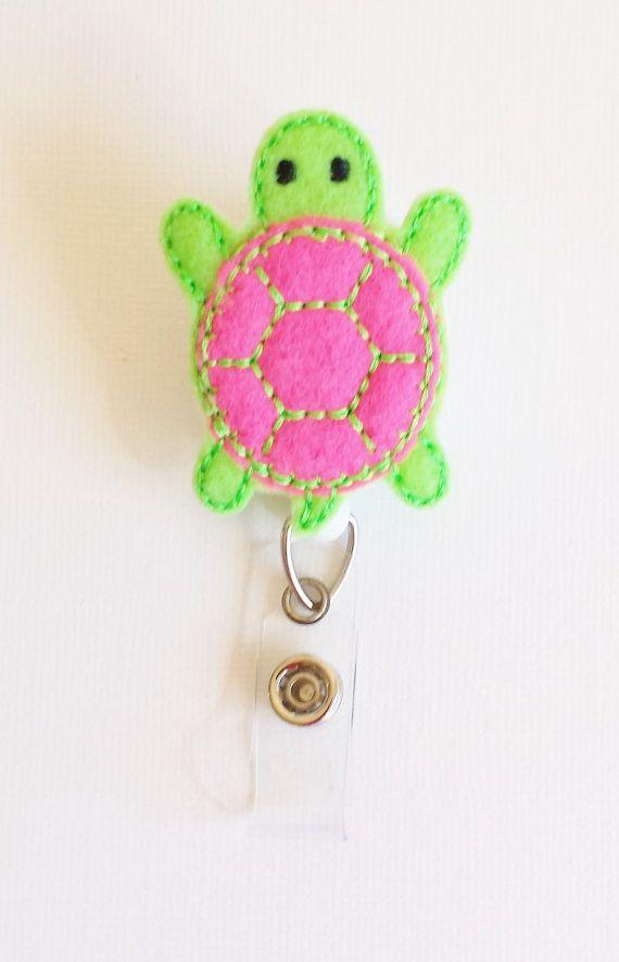 Turtle - Felt Badge Reel - Nurse Badge Holder - Retractable