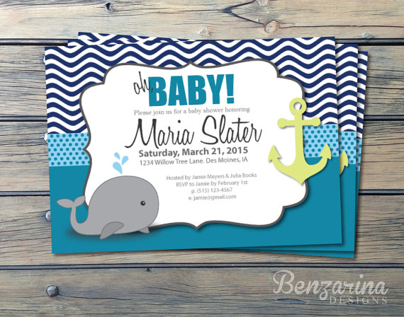 baby shower invitation nautical whales waves anchor teal lime green and navy printable digital download diy
