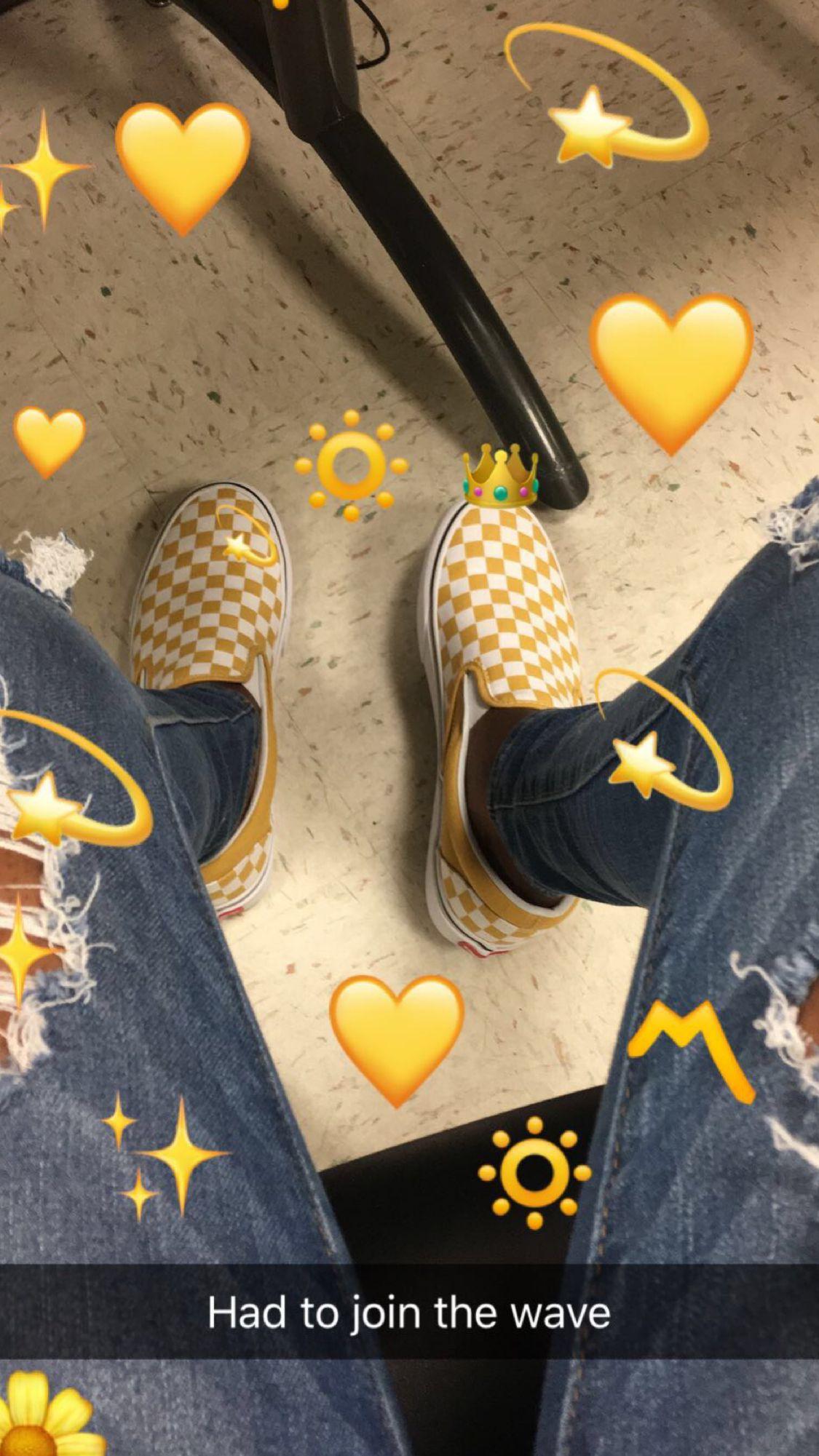 I Finally Got Them Yellow Vans Yellow Slip On Vans Checkered Vans Outfit