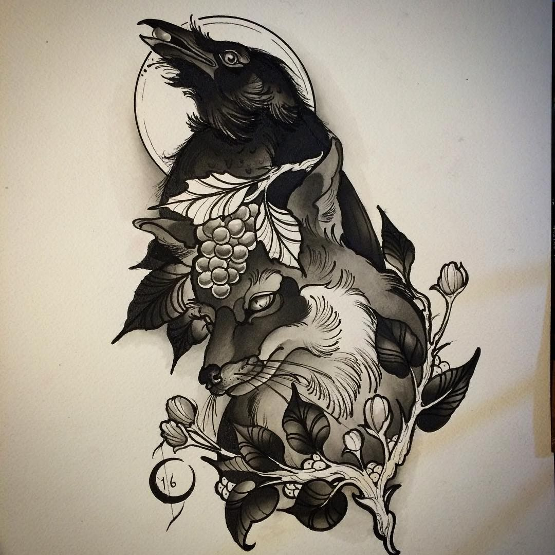 Made This Little Watercolor Painting Of The Fable The Fox And The Crow Today Tattooart Spitshade Allspit Grayspit Animal Tattoos Crow Tattoo Fox Tattoo