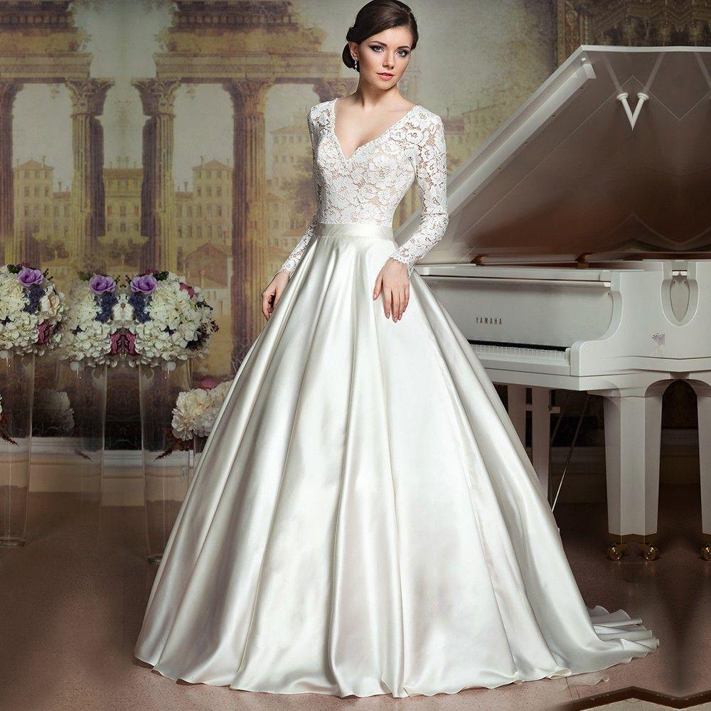 Pin By Wedding On Vestidos De Noiva Igreja Long Sleeve Ball Gown Wedding Dress Popular Wedding Dresses Vintage Ball Gown Wedding Dresses [ 1000 x 1000 Pixel ]