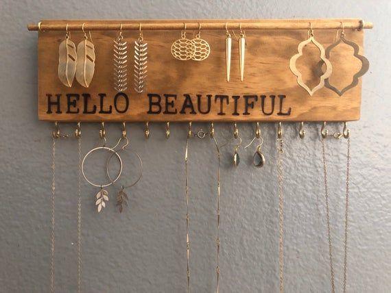 Jewelry Organizer Wall, Jewelry Organizer, Jewelry Storage, Earring Holder, Neck…