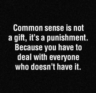 Common Sense Is Not a Gift, It's a Punishment