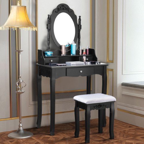 Costway Vanity Makeup Dressing Table Stool Set Jewelry Desk 3 Drawer