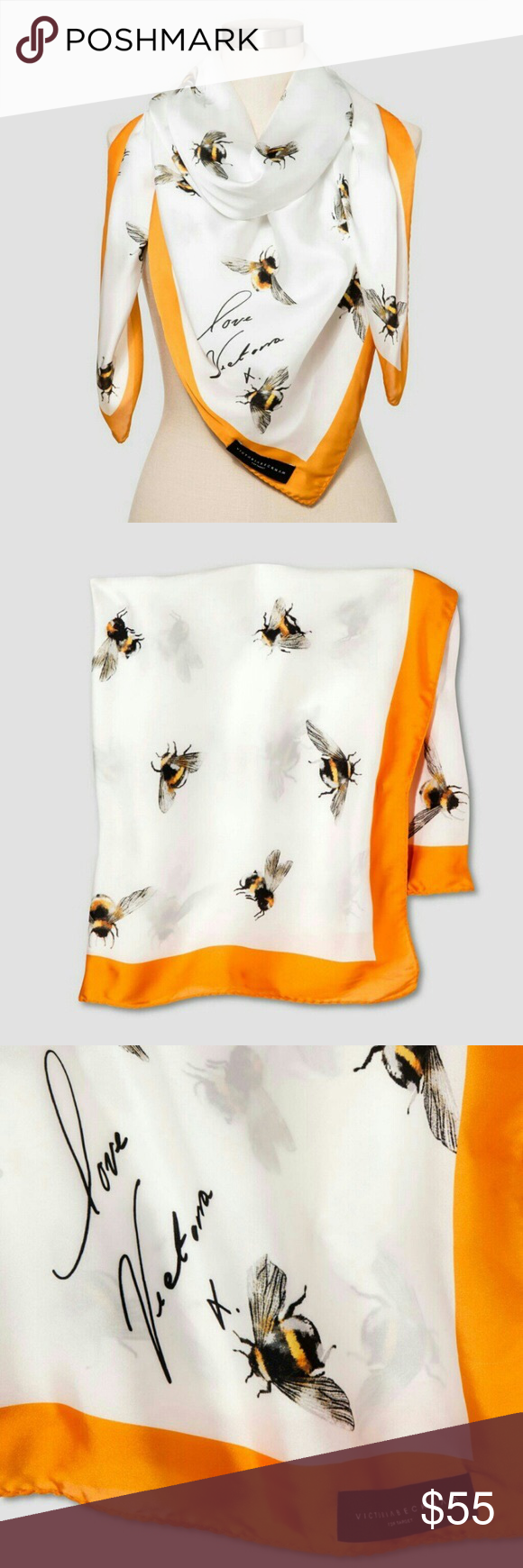 NWT Victoria Beckham for Target Bee Print Scarf Brand new with tags Victoria Beckham for Target bee print scarf with marigold trim. Silky lightweight fabric. Whimsical bee print. Signature detail. Can be worn a variety of ways. The bee print adds fresh style, while the rich marigold border brings a pop of saturated color. Victoria Beckham Accessories Scarves & Wraps