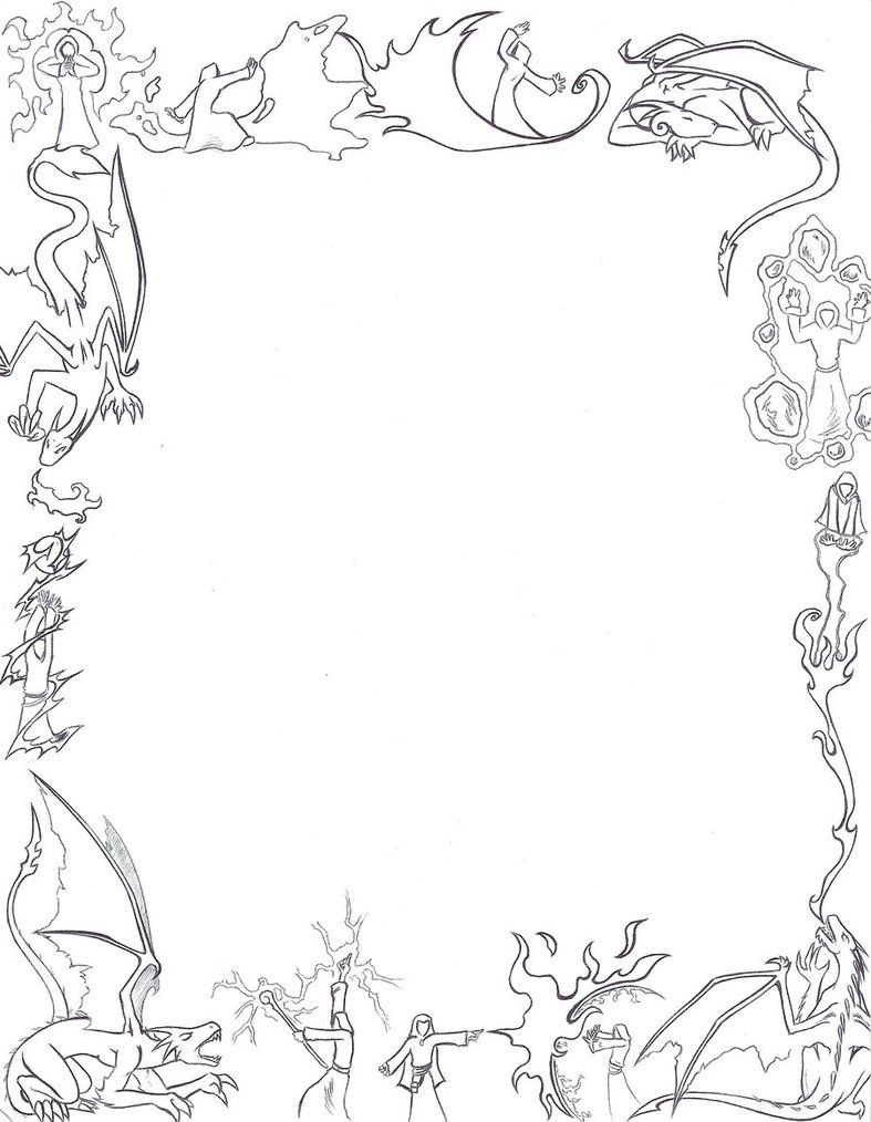 Dragons and Mages paper border