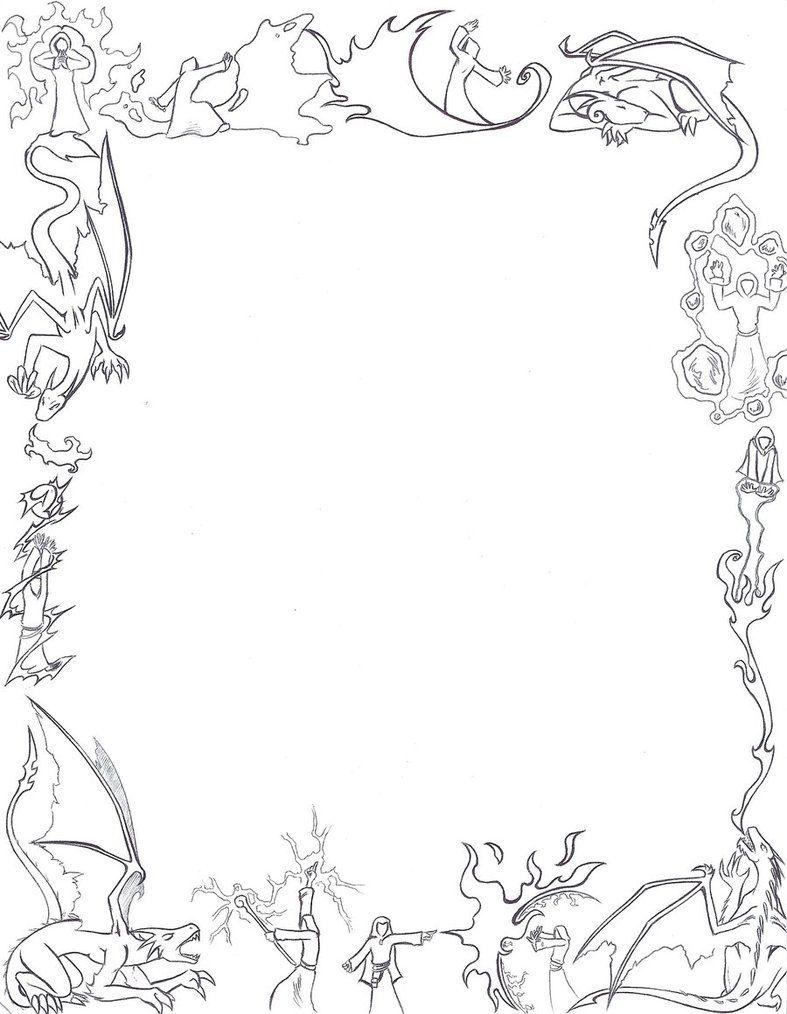 Dragons And Mages Paper Border By Larutanrepus On Deviantart