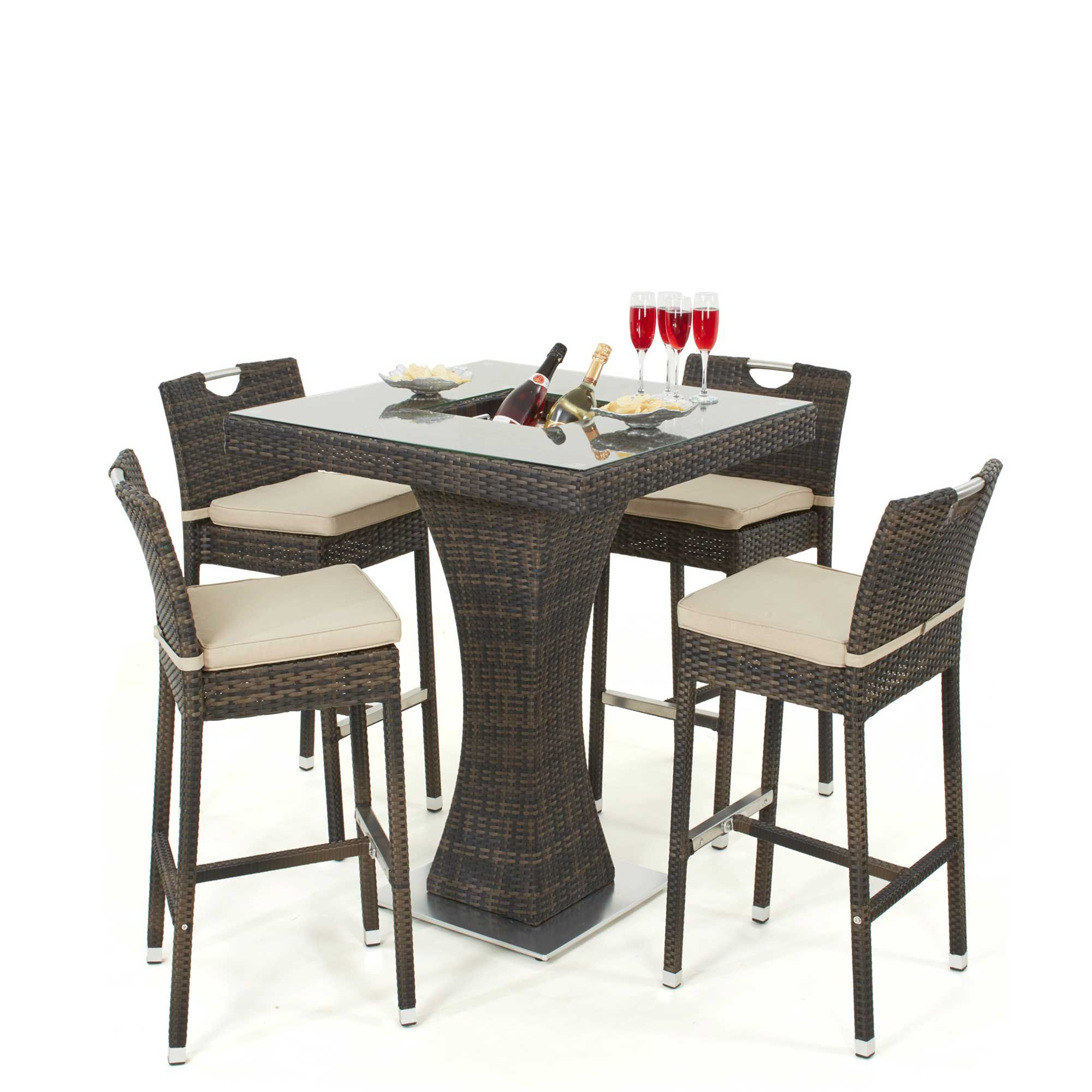 Kersey Outdoor Tall Bar Table with Ice Bucket and 4 Stools, Brown ...