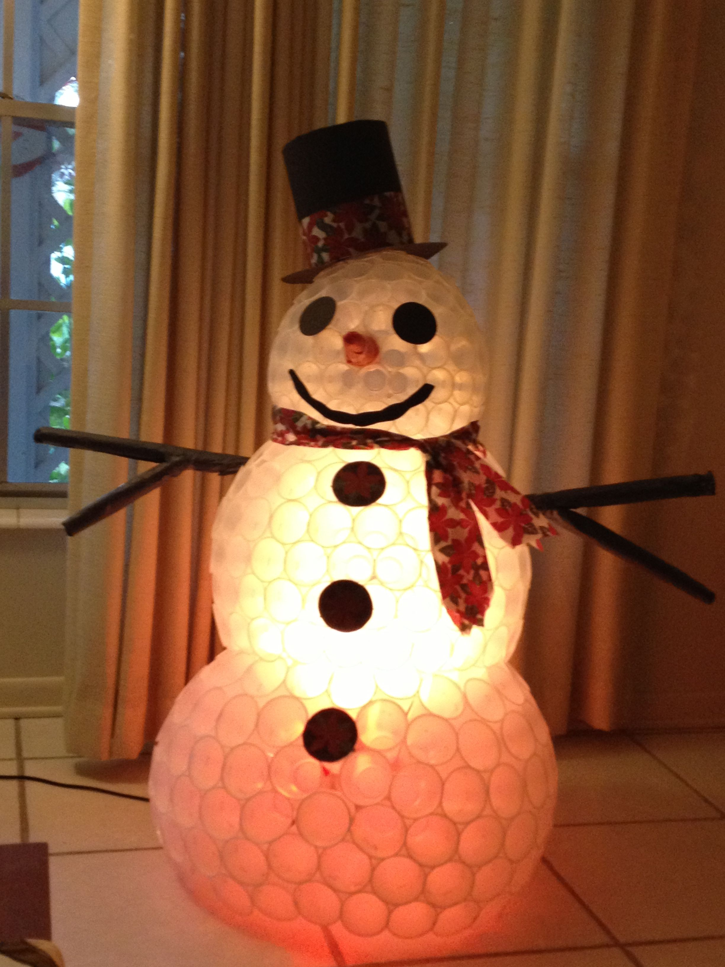 Snowman made with plastic cups i did it pinterest for Plastic snowman