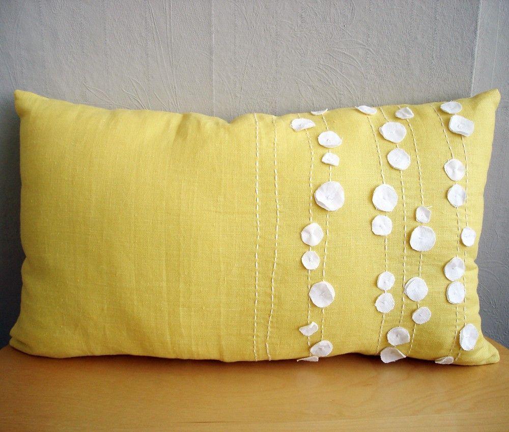 Sukan yellow white linen pillow covers lumbar pillows