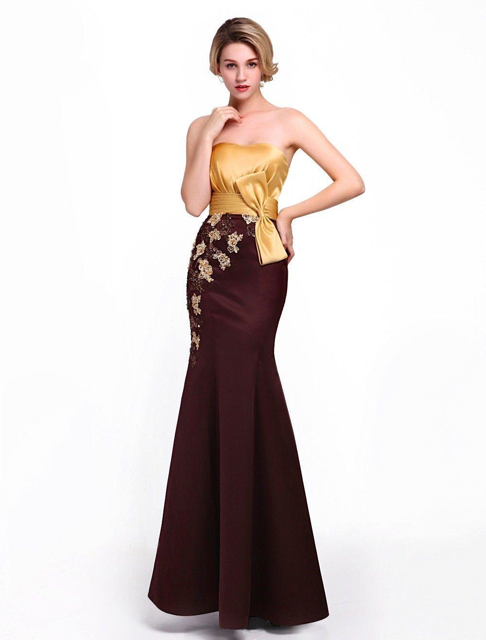 Brown Bow Strapless Floor Length Trumpet Mermaid Evening Prom Dress Cwb0043 $215 Mermaid Evening Dresses