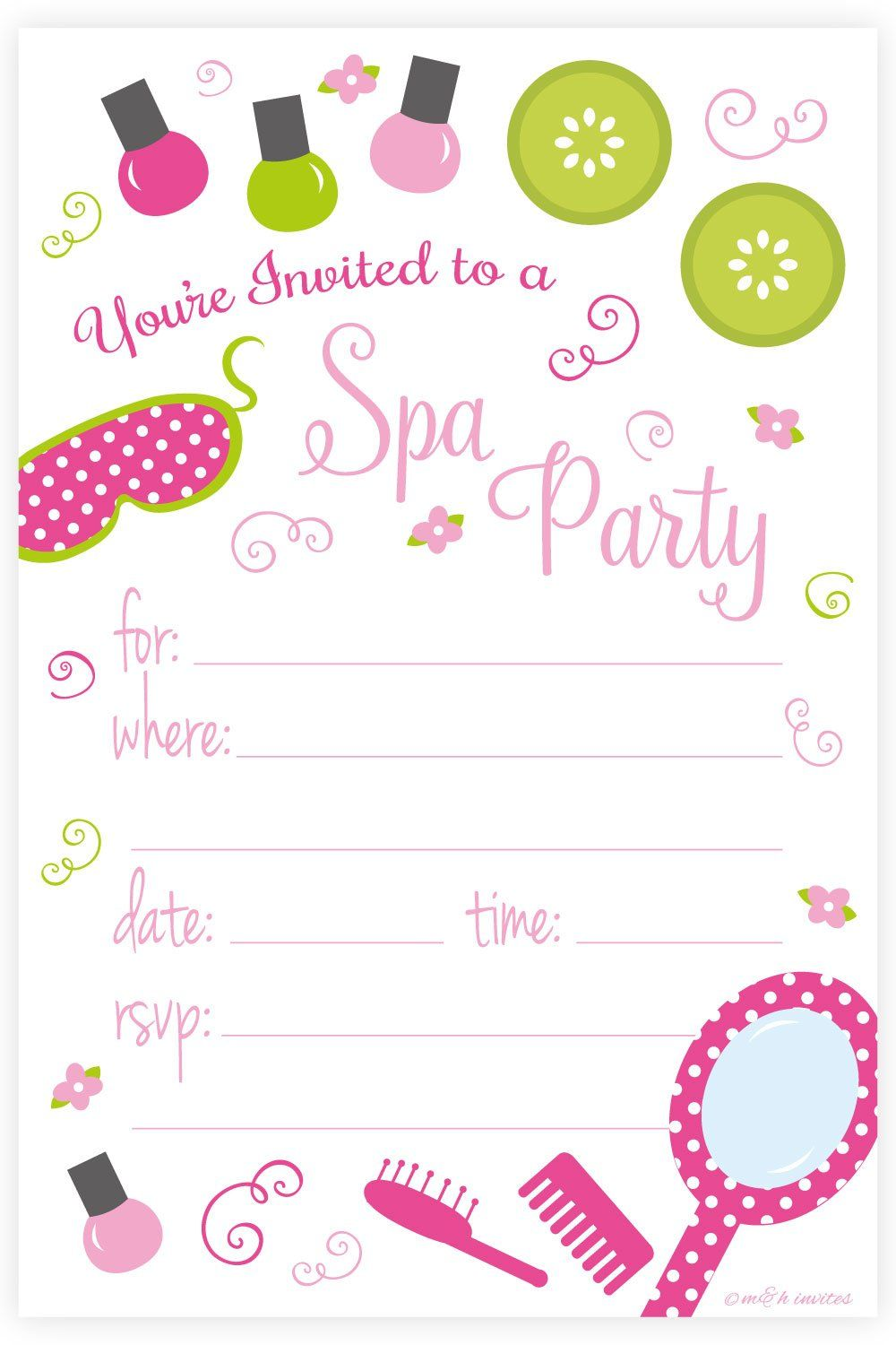 Spa Birthday Party Invitations - Fill In Style (20 Count) With ...