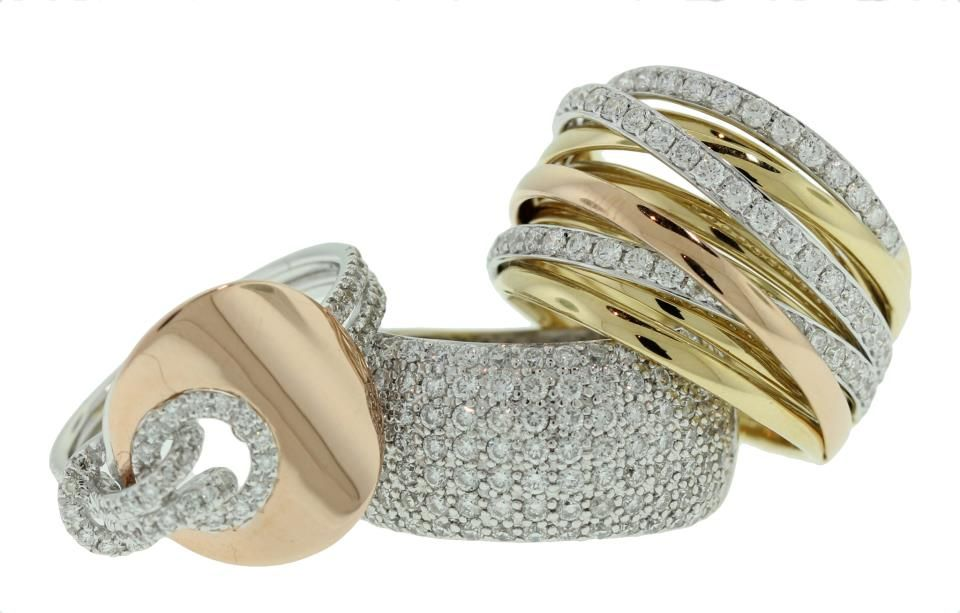 Rose, Yellow and White Gold Assorted Diamond Rings - Brisbane Jeweller - Diamond Jewellery - MONTASH Jewellery Design - www.montash.com.au