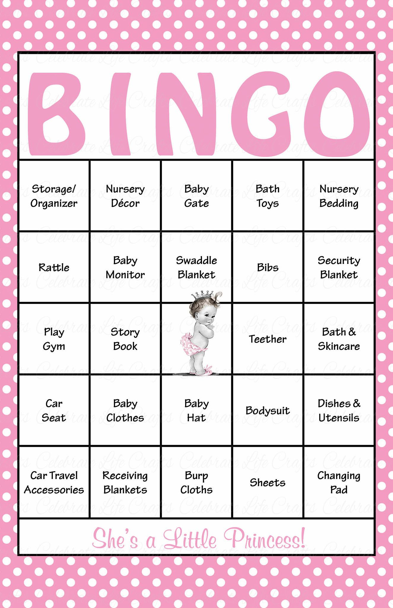 Baby Shower Bingo Is Played As Mommy To Be Opens Her Gifts Our Beautiful Pink Polka Princess Baby Baby Shower Bingo Elephant Baby Shower Theme Baby Boy Shower