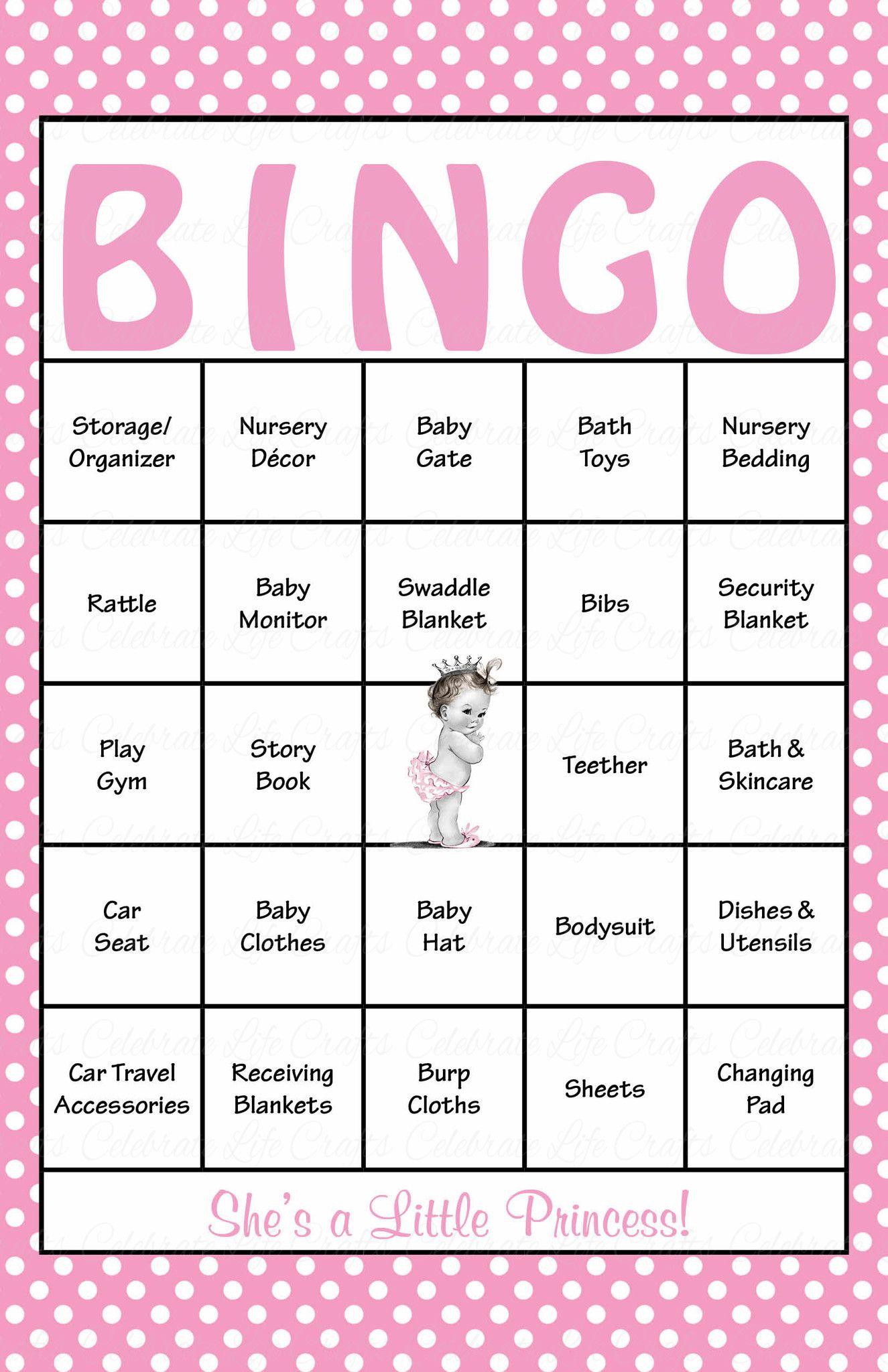 Princess Baby Bingo Cards
