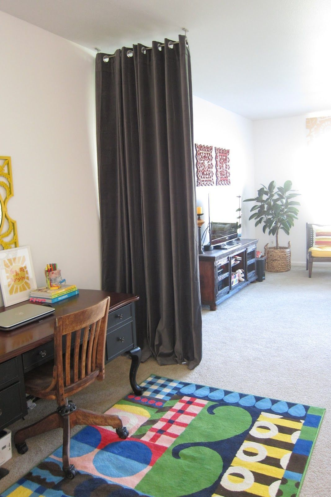Room divider idea ikea grey curtain with longer pole could use to