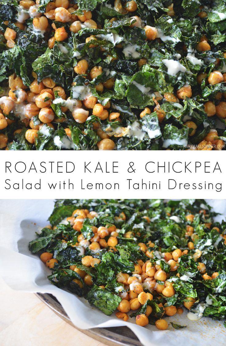 Roasted Kale and Chickpea Salad with Lemon Tahini