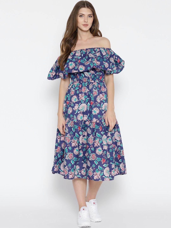 c7f3ea26720 Buy Sera Women Blue Printed Fit   Flare Midi Dress - - Apparel for Women  from