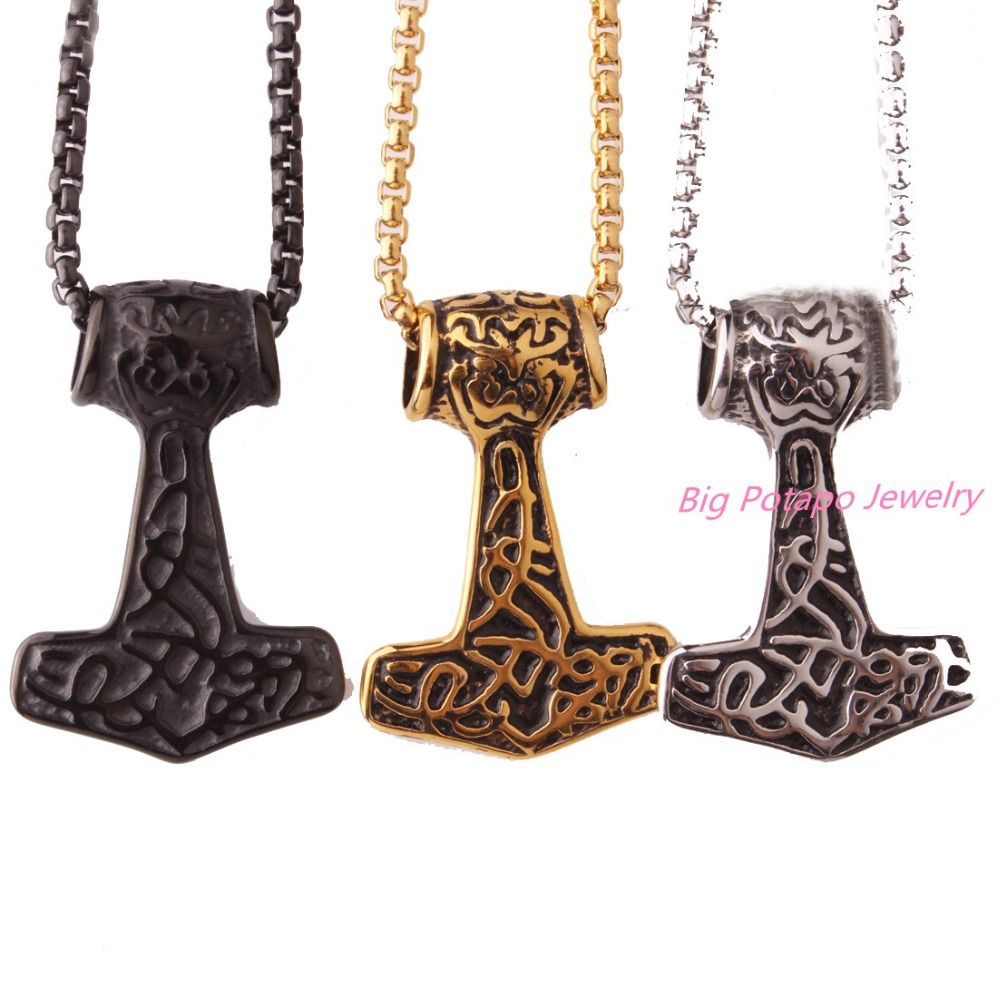 Men choker necklaces gothic thor hammer stainless steel mens
