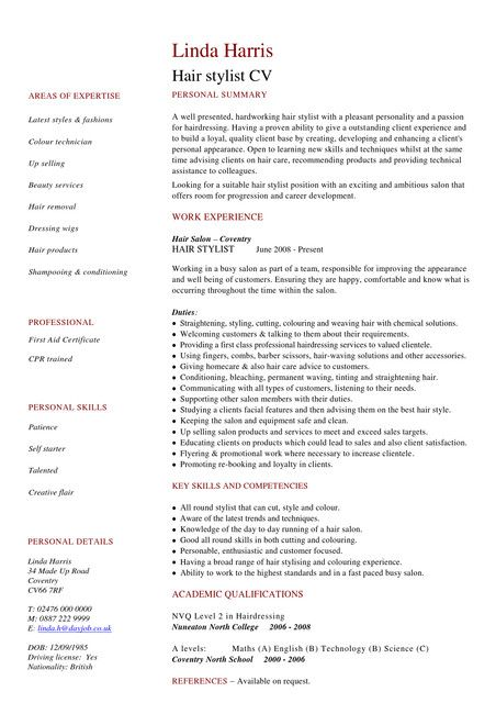 entry level hair stylist resume