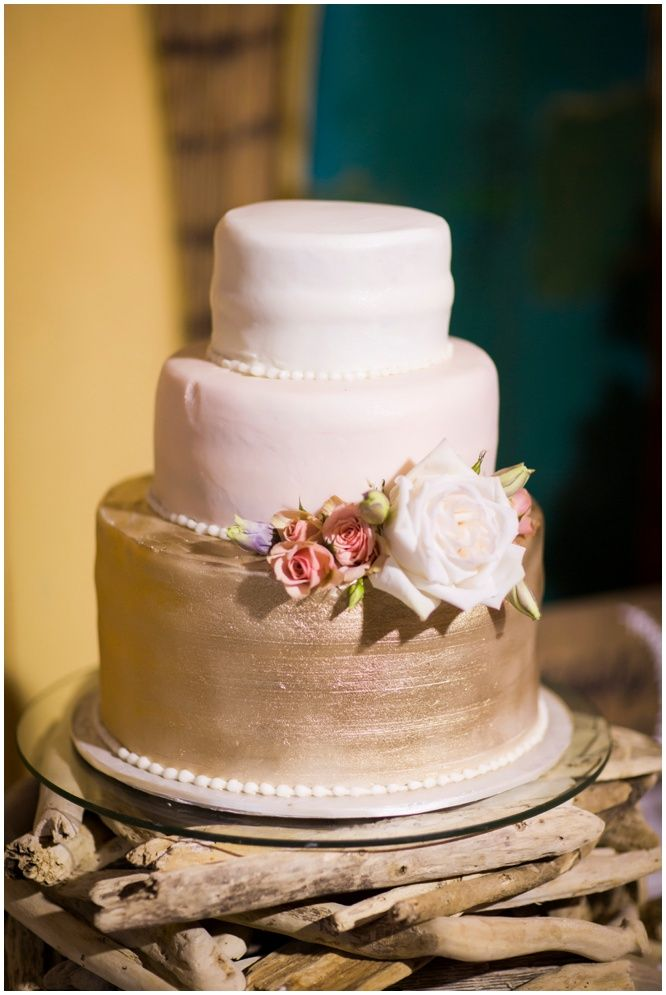 Gold Pink And White Wedding Cake By Betty Weber Of Pensacola