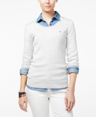TOMMY HILFIGER Tommy Hilfiger Jenny Cable-Knit Sweater, Only at Macy's. #tommyhilfiger #cloth # sweaters