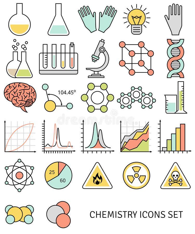 La Linea Plana Iconos Fijo De Simbolos De La Quimica Y Ilustracion Del Vector Notas De Dibujo Cuadernos De Dibujo Tatuaje De Quimica