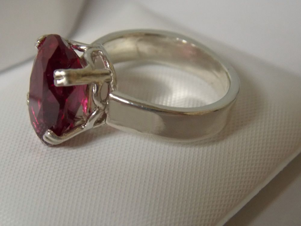 8ct red ruby 925 sterling silver ring 4 wide band size 5 USA made #Solitaire