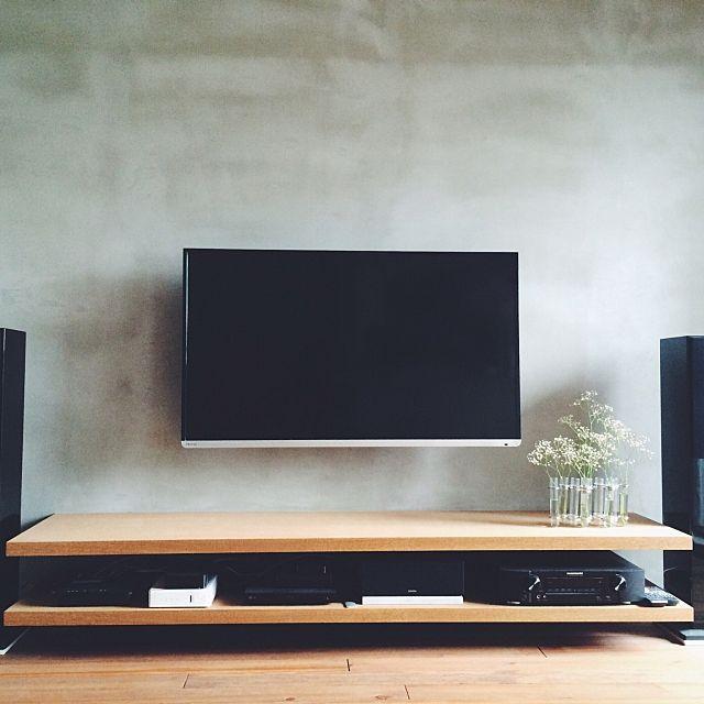 リビング 壁掛けテレビ 造作棚 モルタル リノベーション などのインテリア実例 2016 07 29 01 44 03 Roomclip ルームクリップ 造作 Tv 壁掛け 壁掛け