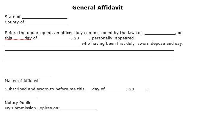Free General Affidavit Form Word Template Templates Statement