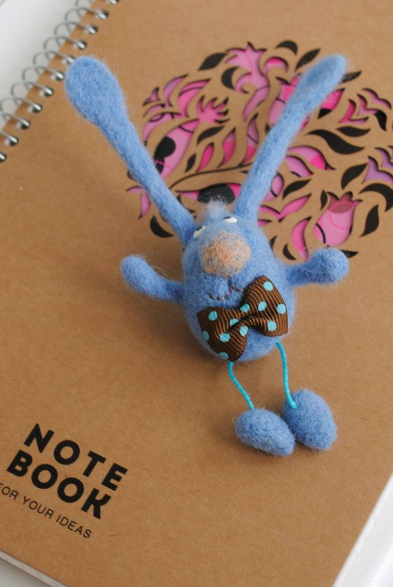 Bunny Brooch Needle Felted Bunny Needle Felted Brooch by katuasha, $22.00 #needlefeltedbunny