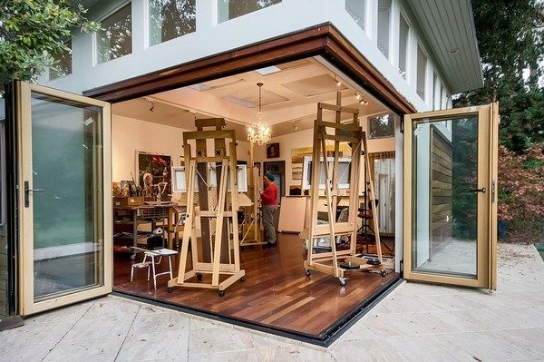 Awesome Home Art Studio Ideas Wood Floor Large Folding Patio Doors In 2020 Art Studio At Home Art Studio Decor Art Studio Lighting