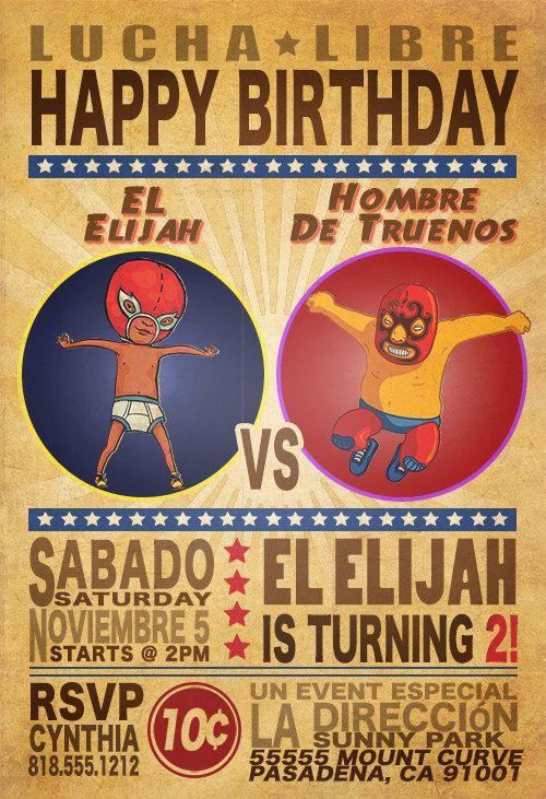 Lucha libre cute kid birthday party invitation wrestling lucha libre cute kid birthday party invitation wrestling filmwisefo