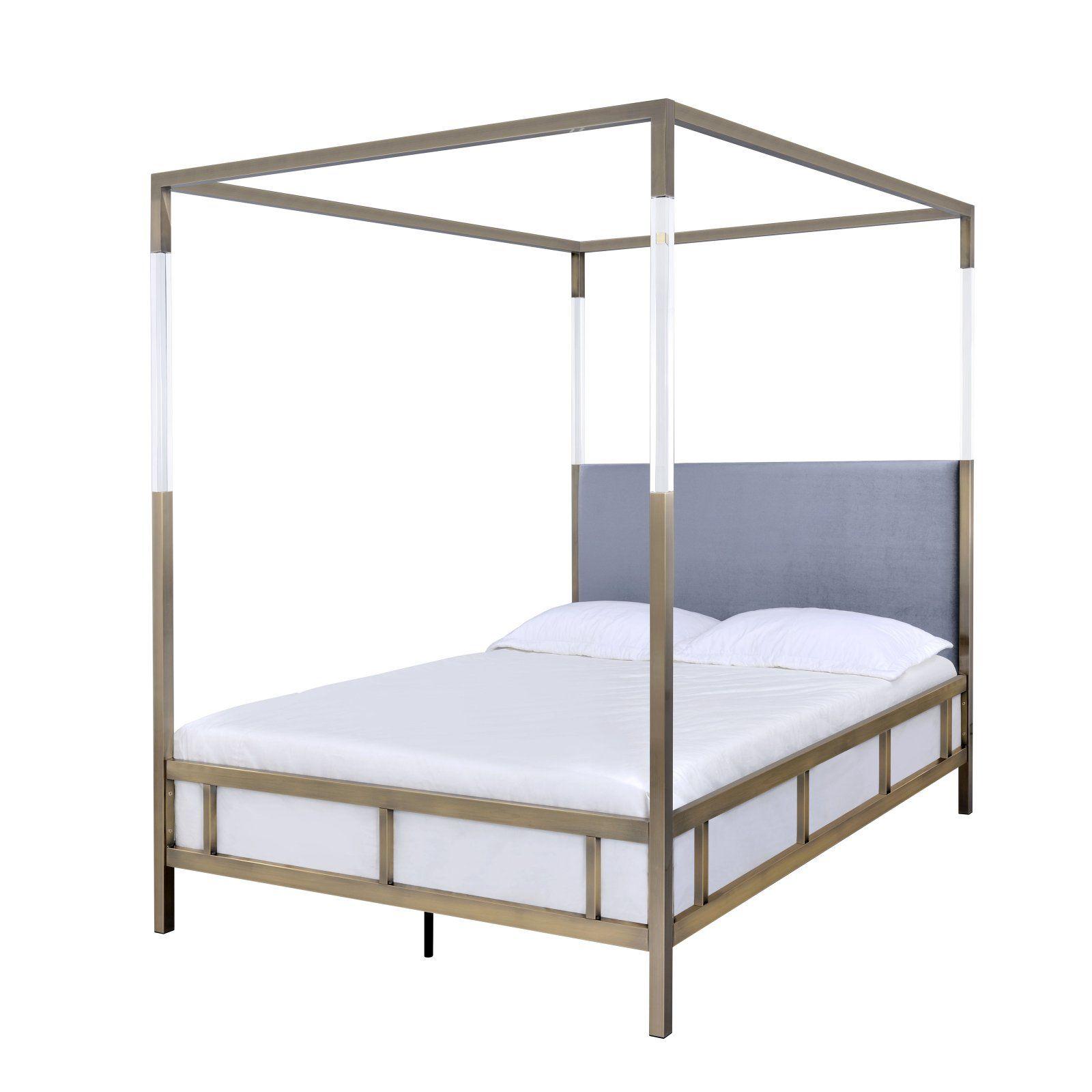 40e8f0f1f610 Urban Attitude Gold Justine Collection Queen Size Canopy Bed ...