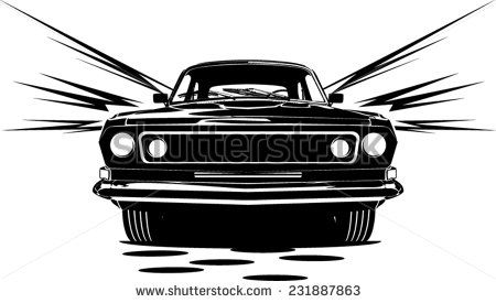 An Illustration Of Classic Car Abstract Silhouette Front View With