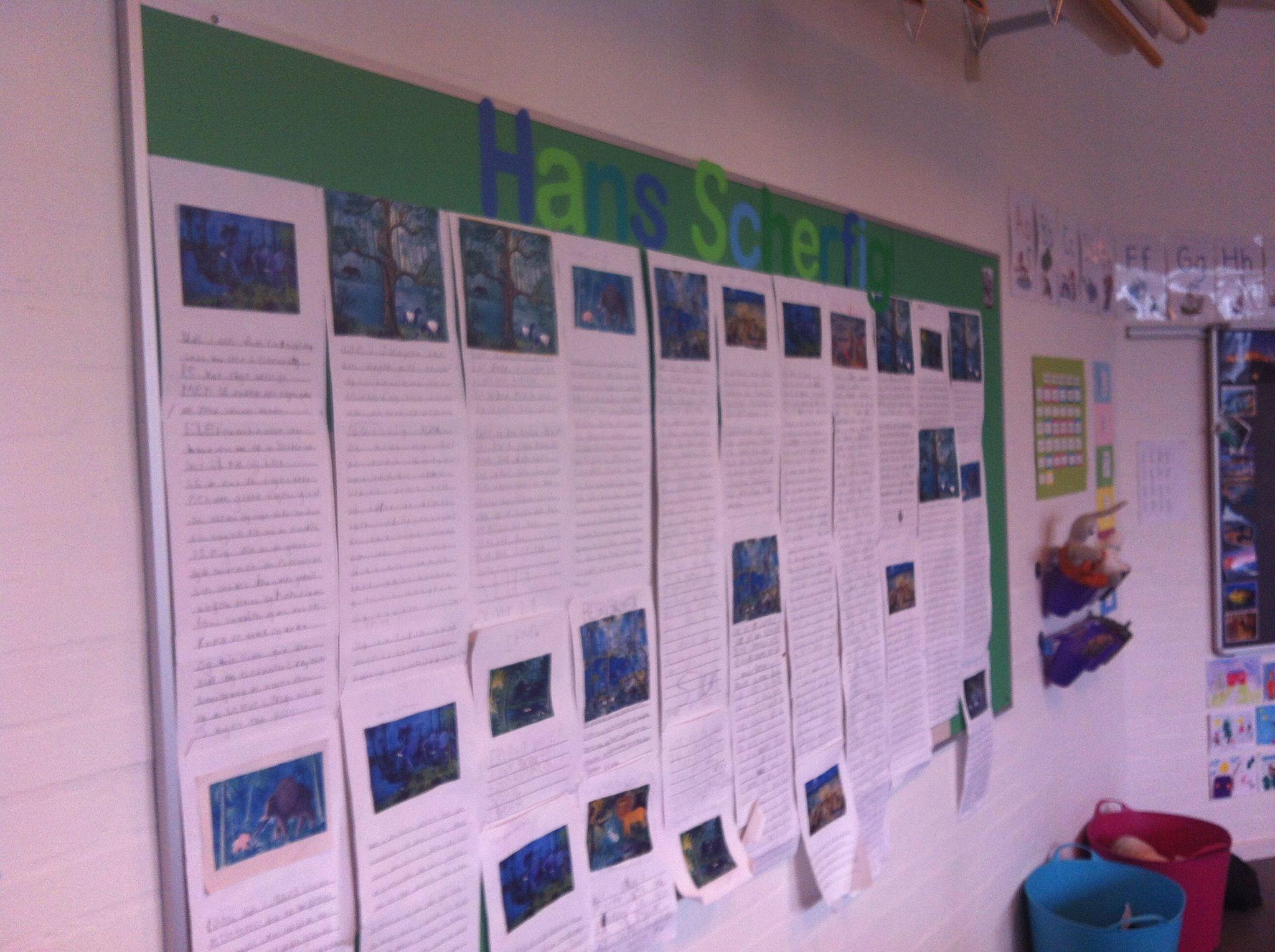 Hans Scherfig emne i 2. klasse. Alle har skrevet en historie udfra et Hans Scherfig billede.